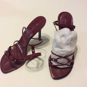 Aldo Maroon Strappy High Heels Sandals